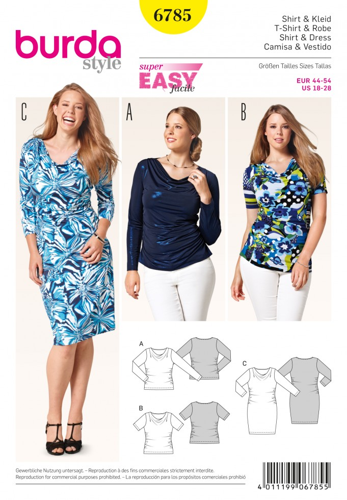 Burda Ladies Plus Size Easy Sewing Pattern 6785 Stretch Knit Tops