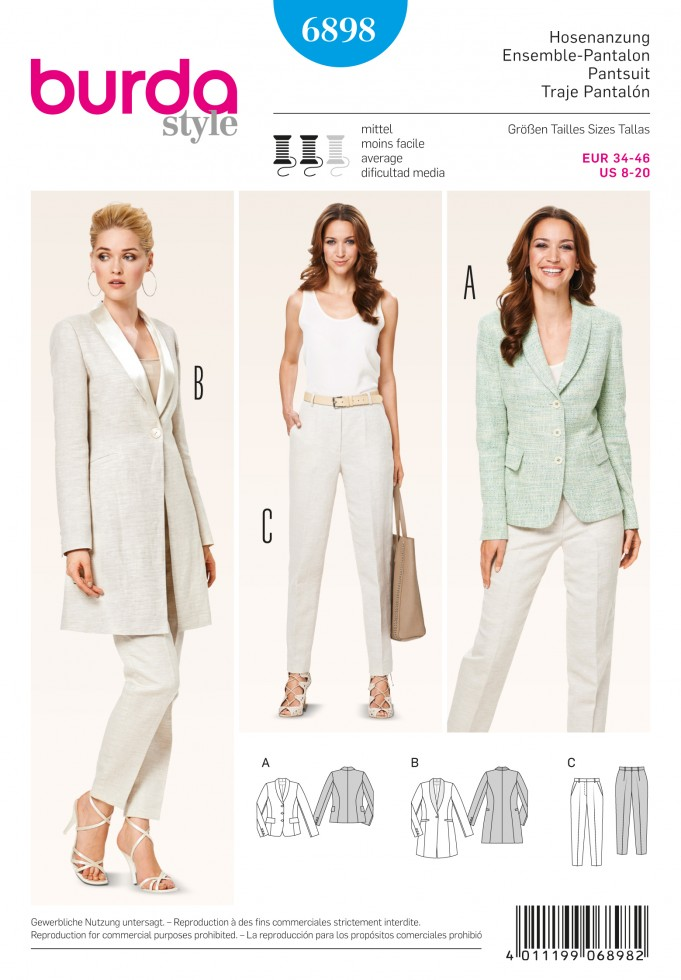 Burda Ladies Easy Sewing Pattern 6898 Trouser Pants & Jacket Suits ...