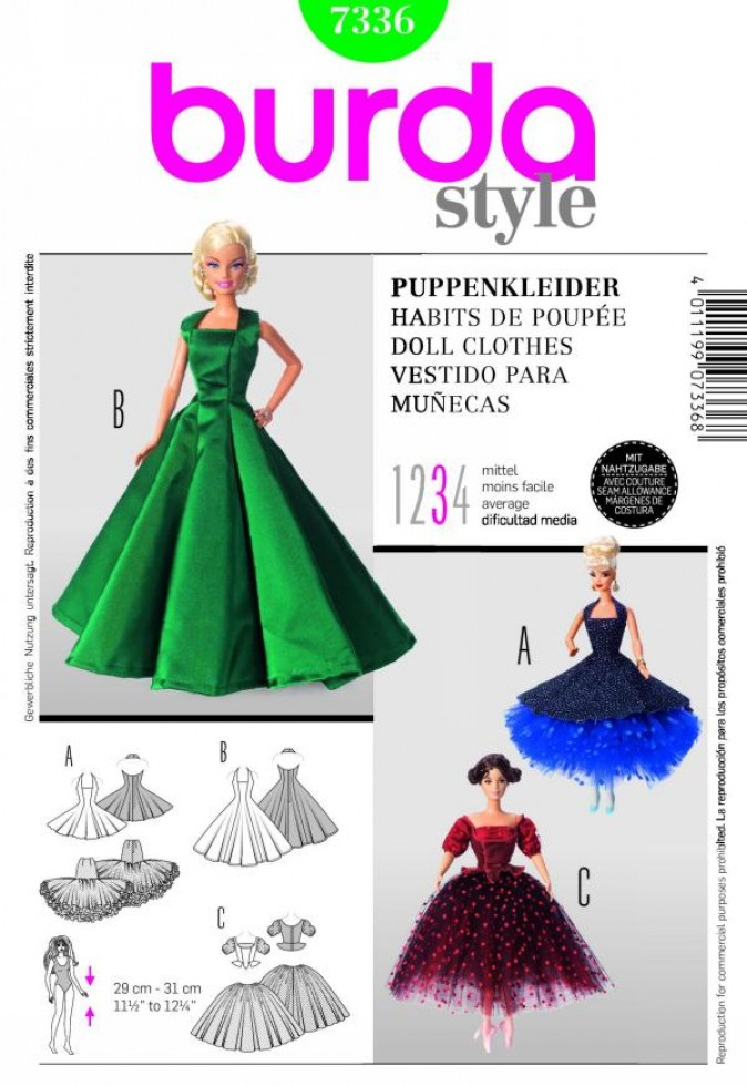 Burda Craft Sewing Pattern 7336 Barbie Doll Style Doll Clothes ...