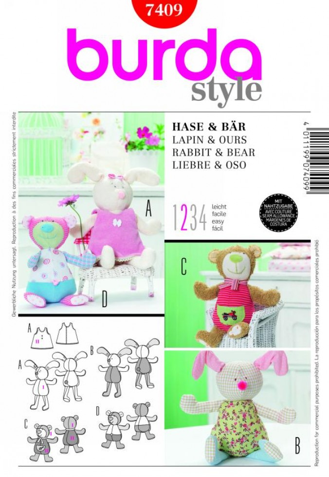 Burda Easy Craft Sewing Pattern 7409 Teddy Bear & Bunny Cuddly Toys ...