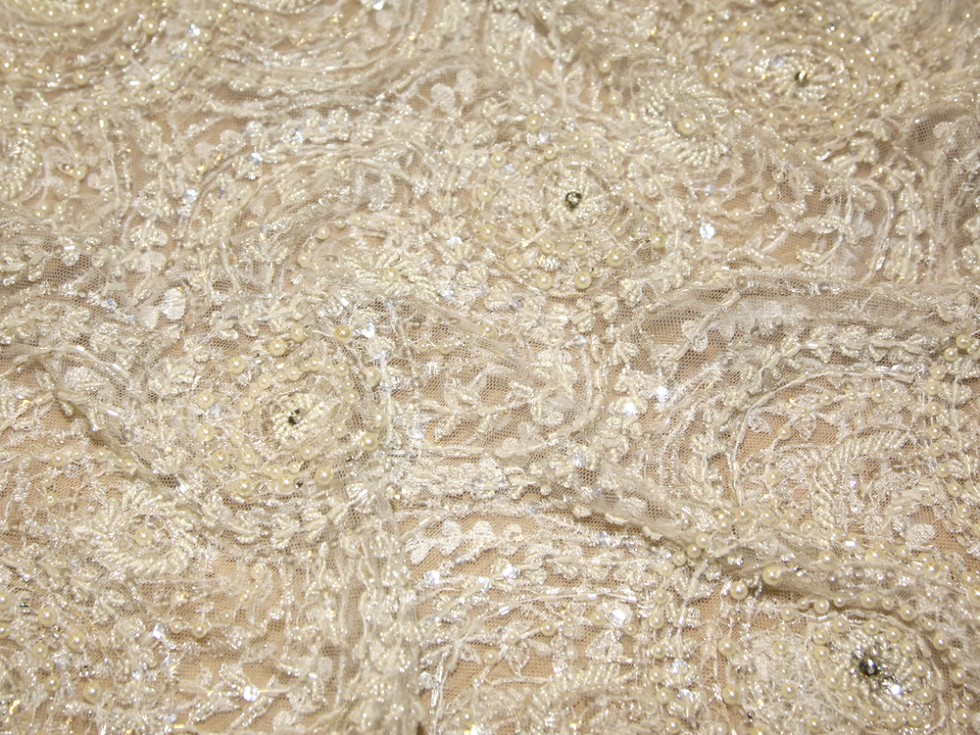 Charlotte 1920s style pearl beaded sequined couture for Bridal fabric