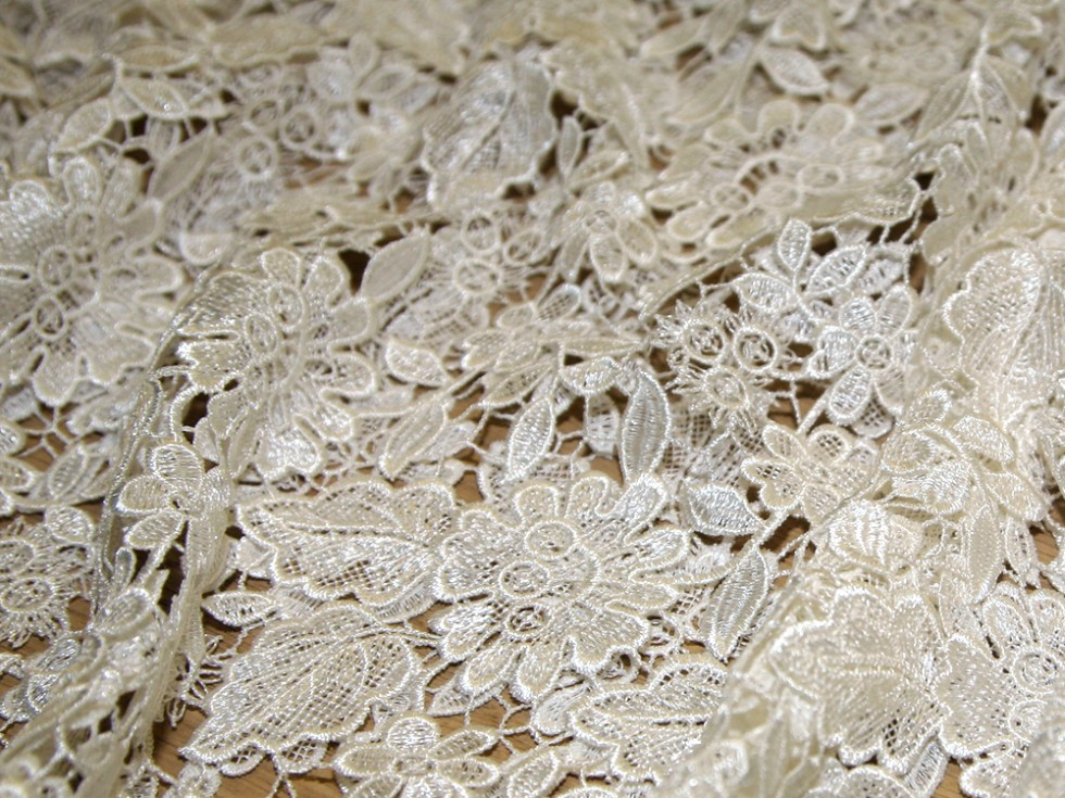 Francesca scalloped guipure lace couture bridal lace for Bridal fabric