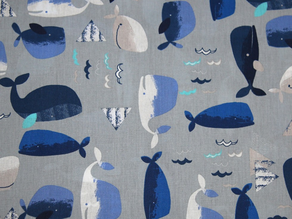 Whale print cotton poplin dress fabric fabric dress for Whale fabric
