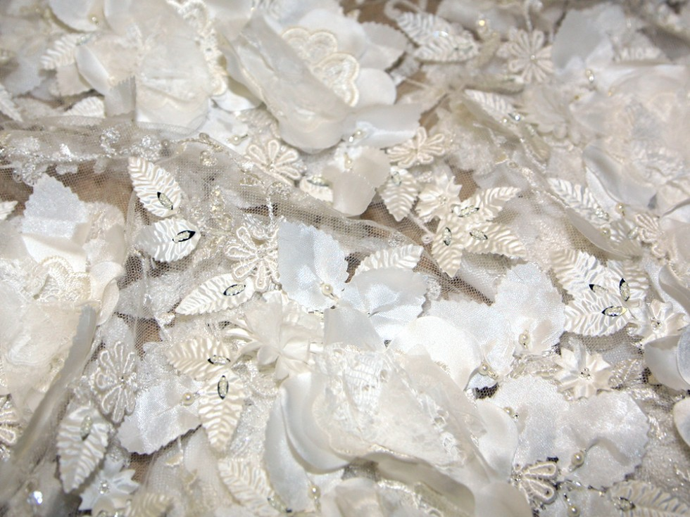 Julianne 3 dimensional flower couture bridal lace fabric for Bridal fabric