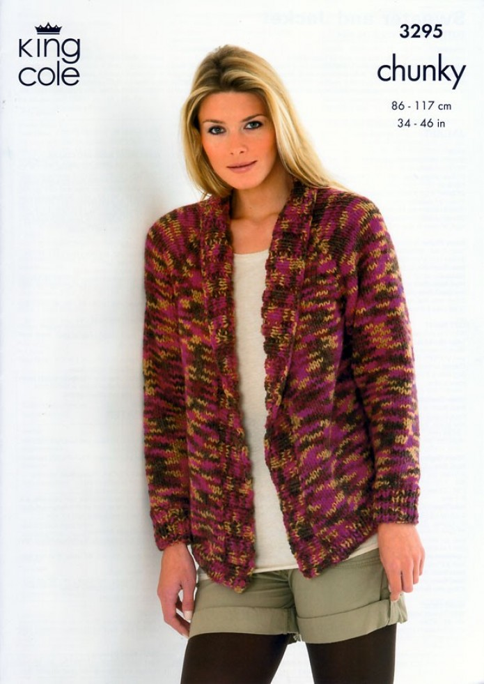 Chunky Knit Jacket Patterns Free : King Cole Ladies & Mens Sweater & Jacket Magnum Knitting Pattern 3295...