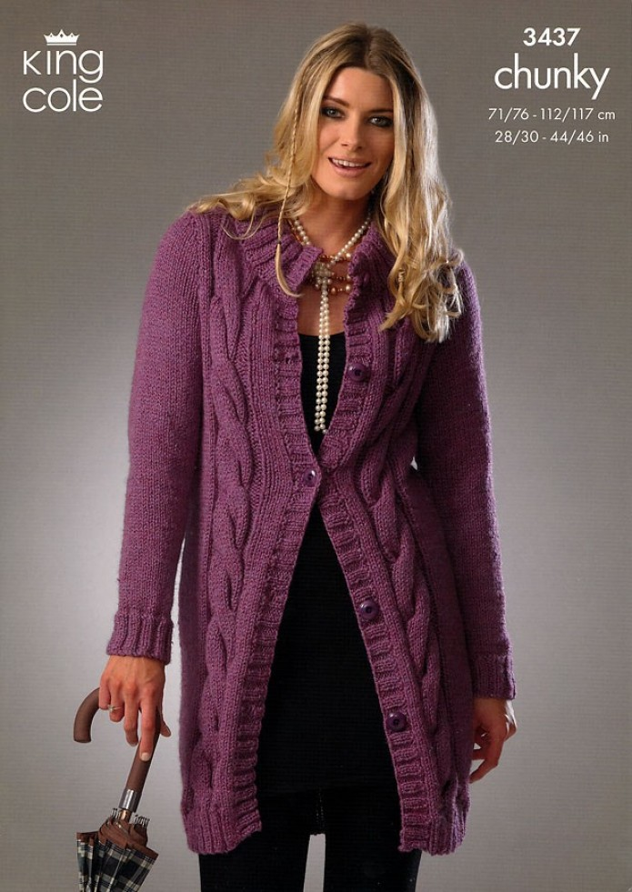 Knitting Pattern For Chunky Ladies Cardigan : King Cole Ladies Cardigan & Sweater Big Value Knitting Pattern 3437 Chunk...