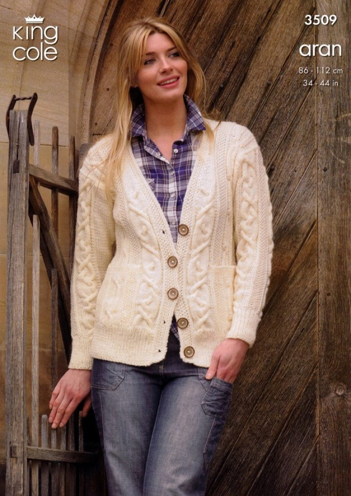 Easy Gilet Knitting Pattern : King Cole Ladies Cardigan & Gilet Fashion Knitting Pattern 3509 Aran Kn...