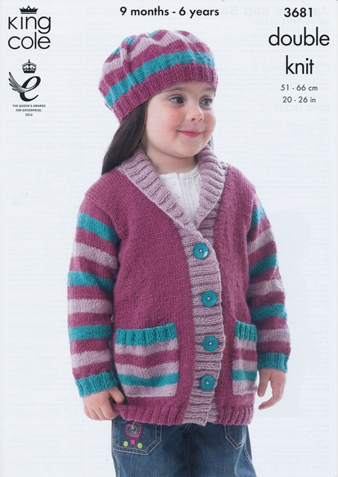 Knitting Pattern Child s Beret : King Cole Childrens Jackets & Beret Big Value Knitting ...