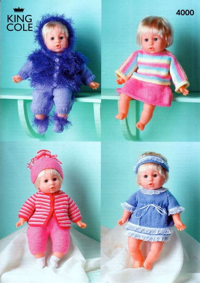 King Cole Dolls Clothes Big Value Knitting Pattern 4000 DK Knitting Patte...