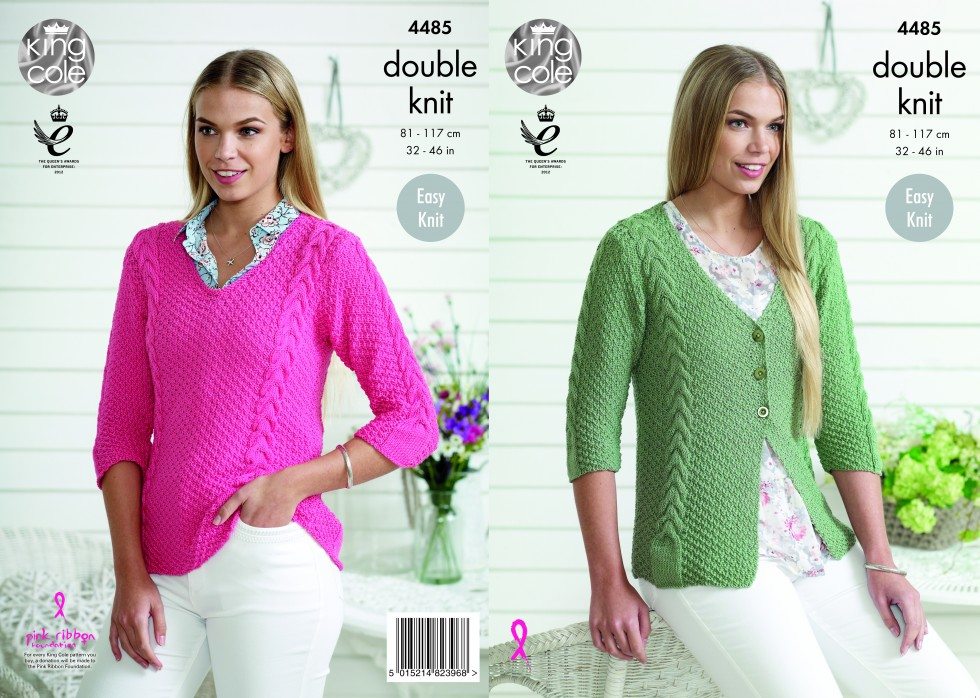 King Cole Ladies Cardigan Sweater Bamboo Cotton Knitting Pattern
