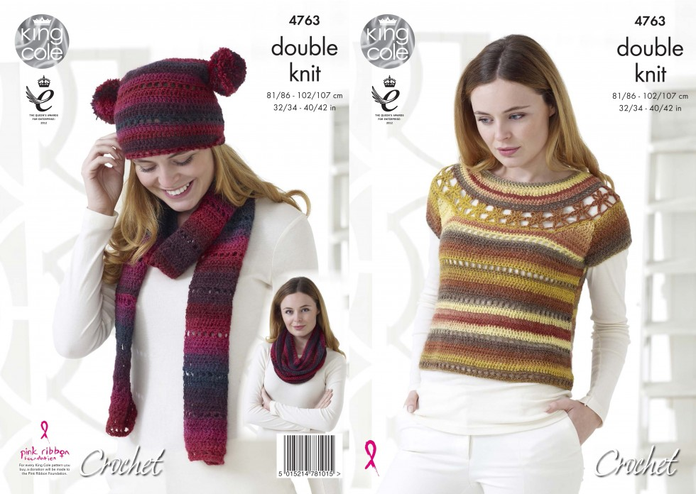 King Cole Ladies Top Hat Scarf Snood Riot Crochet Pattern 4763