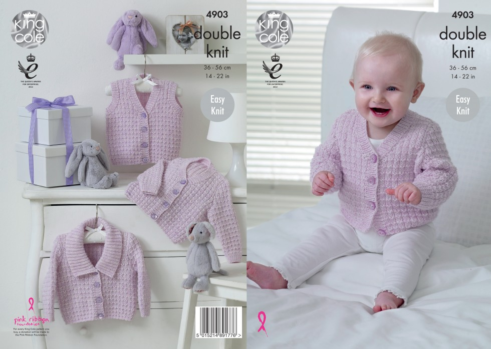 King Cole Baby Waistcoat & Cardigans Baby Pure Knitting ...