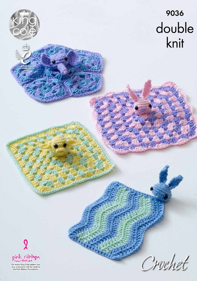 Knitting Pattern For Comfort Blanket : King Cole Baby Comfort Blankets Cherish Crochet Pattern ...