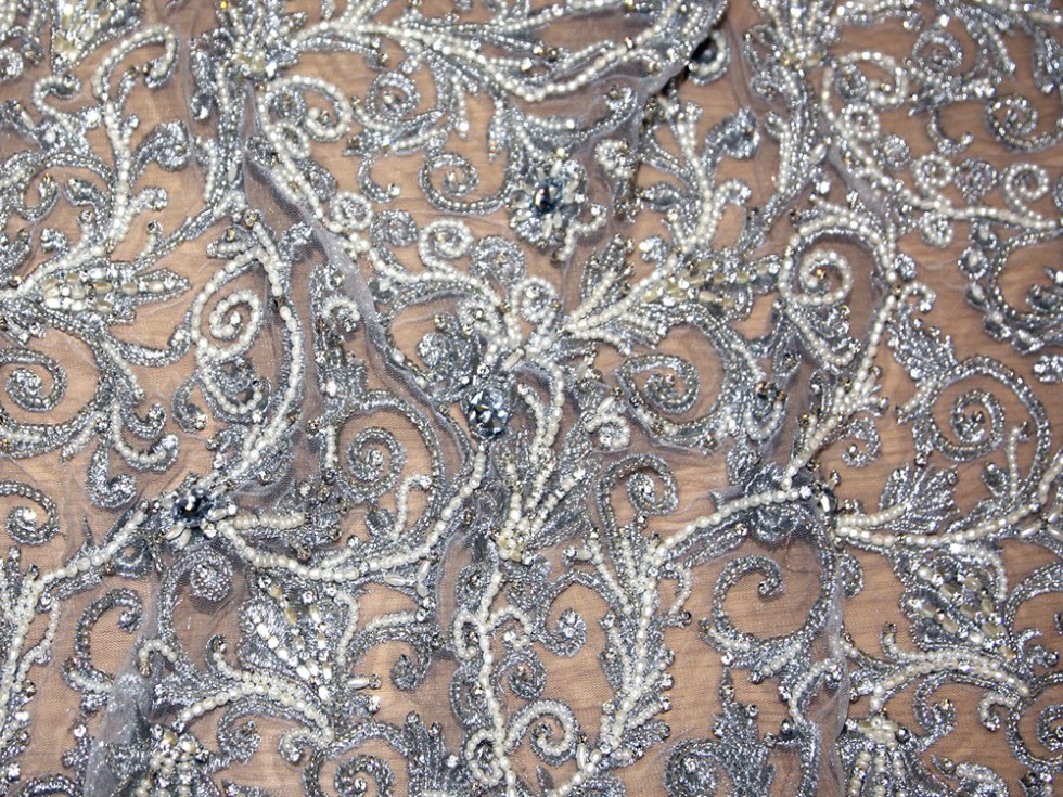 Kimatra heavy crystal couture bridal lace fabric silver for Bridal fabric