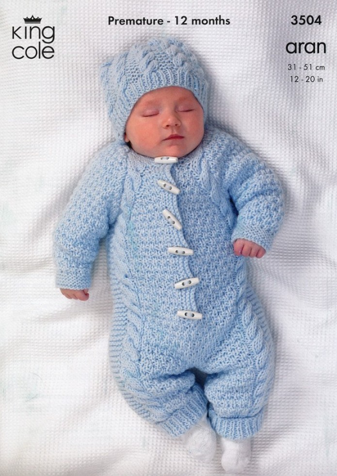 Knitting Pattern Baby All In One : King Cole Baby All-in-one Comfort Aran Knitting Pattern ...