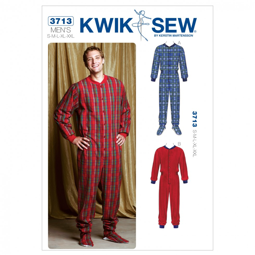 Kwik sew mens easy sewing pattern 3713 onesie all in one pyjamas every effort is made to ensure the items you see on the website are a true match to the items you receive however colours may vary greatly depending on your jeuxipadfo Image collections
