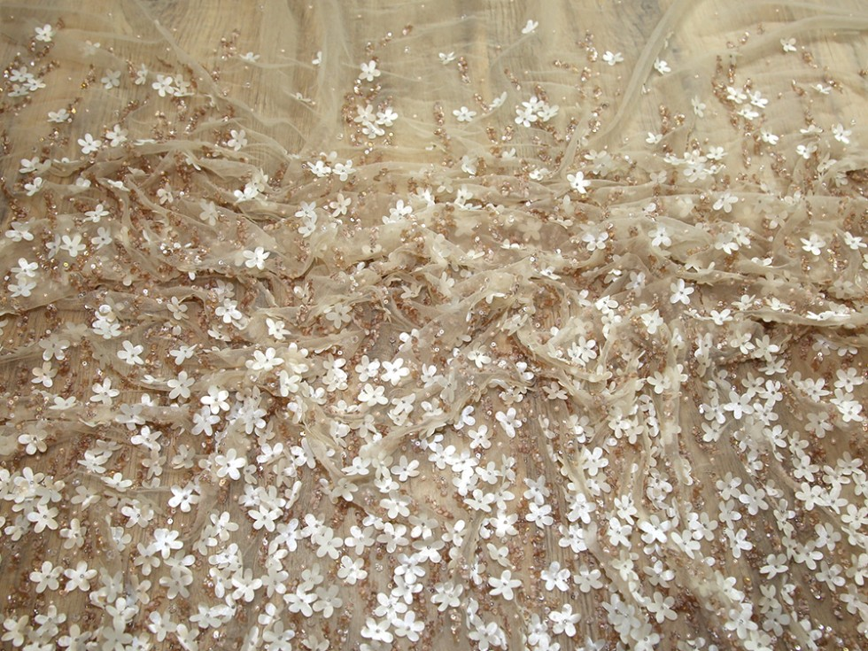 Larisa Beaded Border Couture Bridal Lace Fabric Bronze