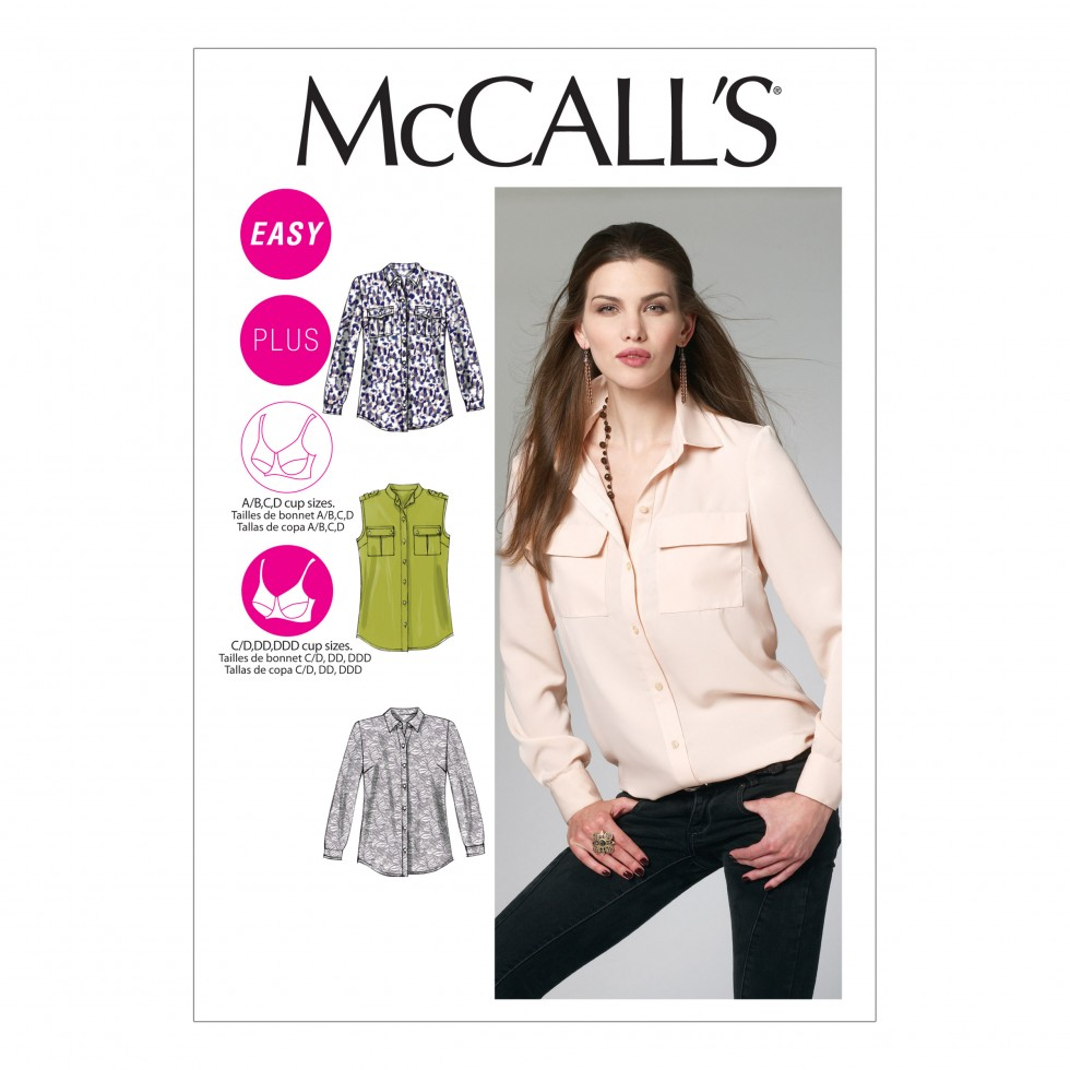 Mccalls ladies easy sewing pattern 6436 shirts tops with for Pattern shirts for women