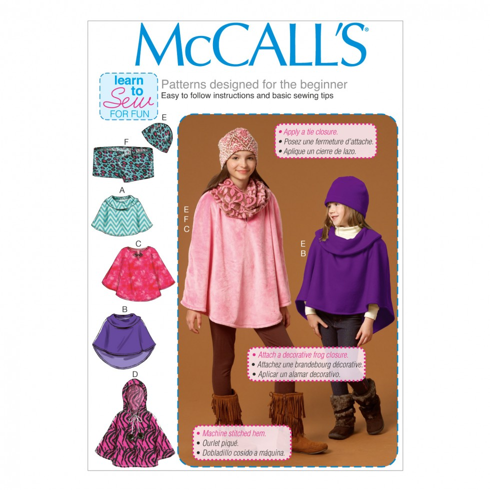 McCalls Girls Learn to Sew Easy Sewing Pattern 7012 Ponchos