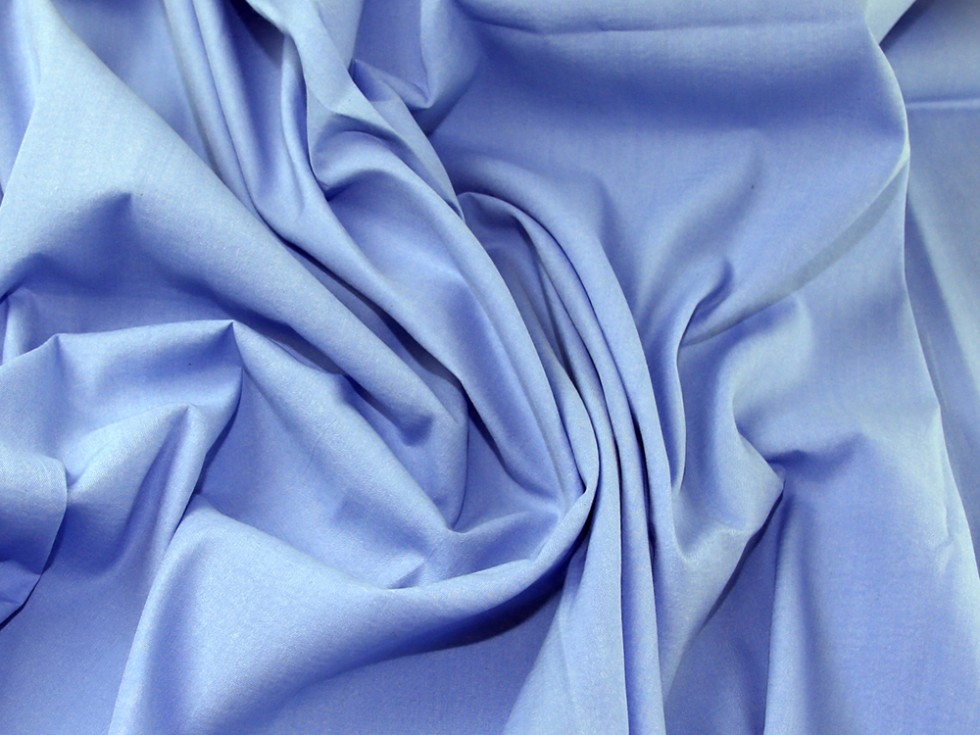 Plain woven polyester cotton dress fabric sky blue for Dressmaking fabric
