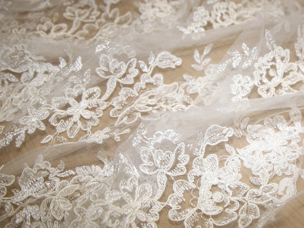 Naomi corded embroidery scalloped edge couture bridal lace for Bridal fabric