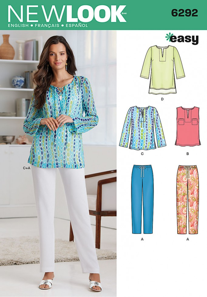New Look Ladies Easy Sewing Pattern 6292 Casual Tops & Pants ...