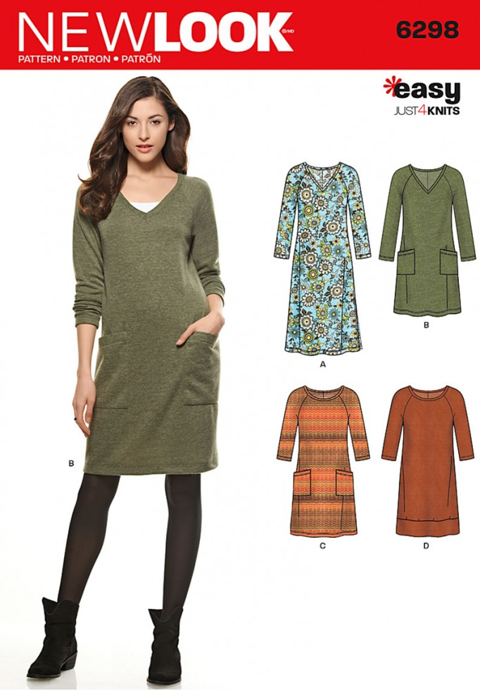 New Look Ladies Easy Sewing Pattern 6298 Stretch Knit Jumper Dresses