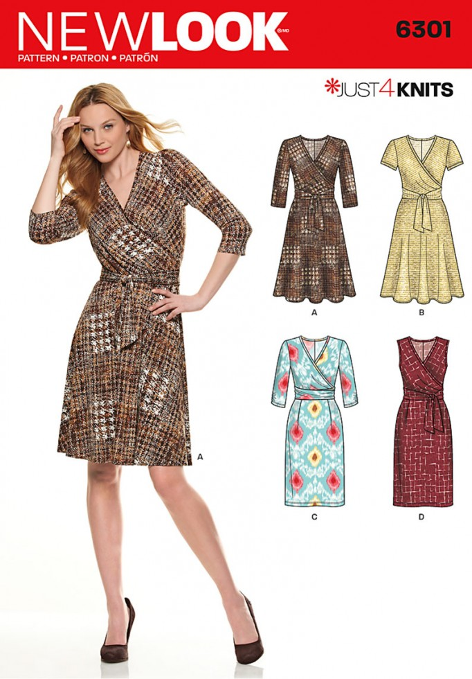 New Look Ladies Easy Sewing Pattern 6301 Stretch Knit Wrap