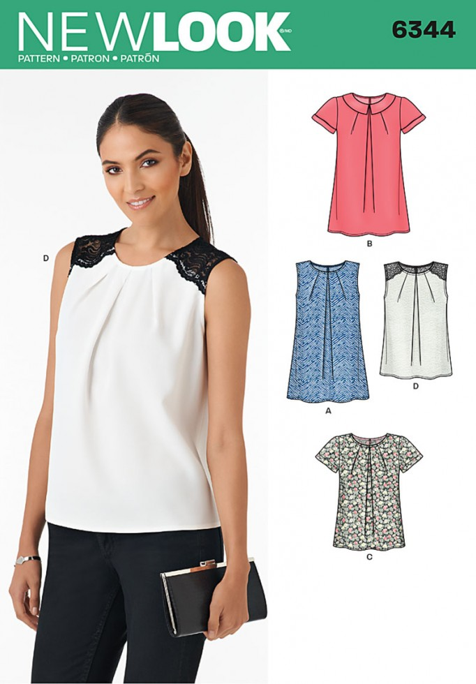 New look ladies sewing pattern 6344 pleated neckline tops for Pattern shirts for women