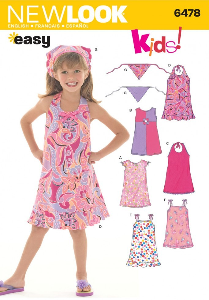 New Look Childrens Easy Sewing Pattern 6478 Dresses Amp Head