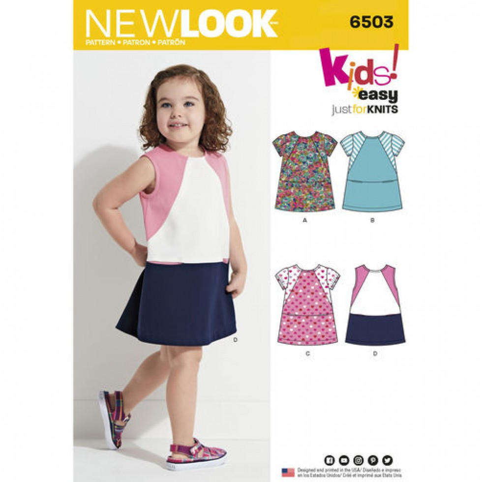 Jersey Knit Sewing Patterns : New Look Girls Sewing Pattern 6503 Jersey Knit Dresses Sewing Patterns ...