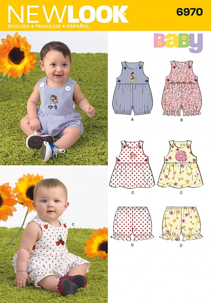New Look Baby & Toddler Easy Sewing Pattern 6970 Rompers ...