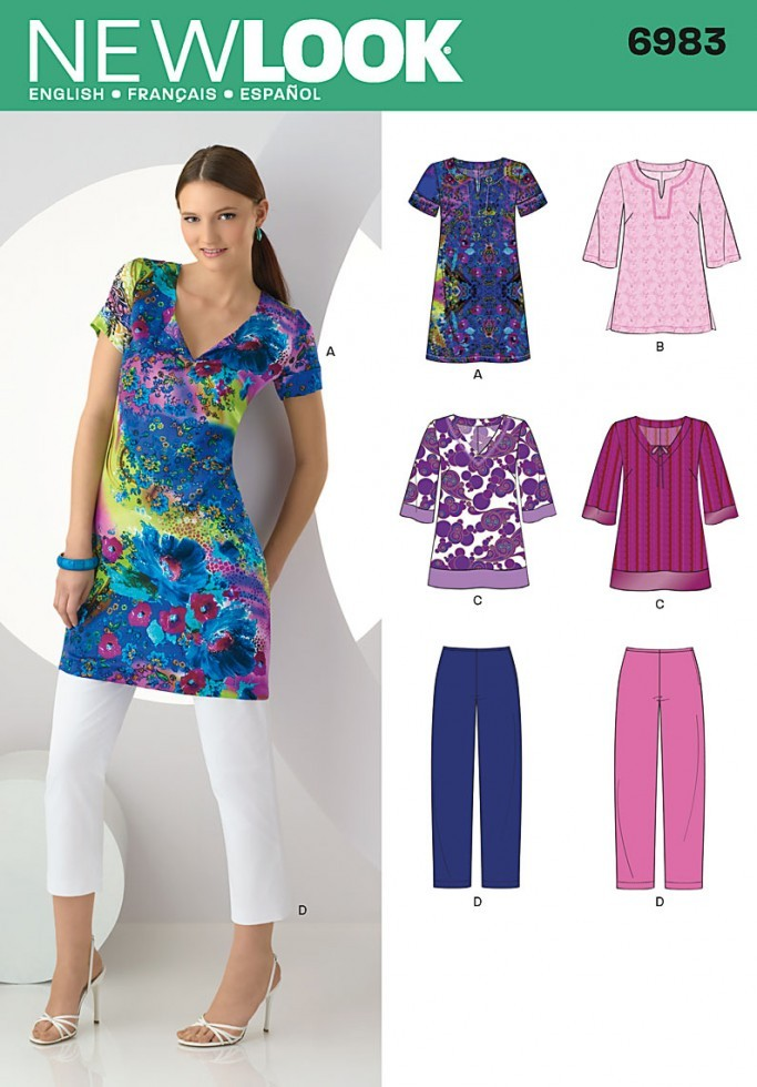 New Look Ladies Sewing Pattern 6983 Tunic Tops & Cropped ...