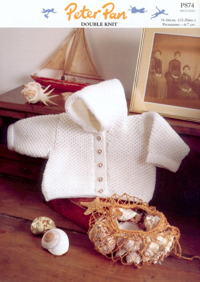 Peter Pan Baby Knitting Patterns : Peter Pan Baby Premature Jacket Knitting Pattern 874 DK Knitting Patterns...