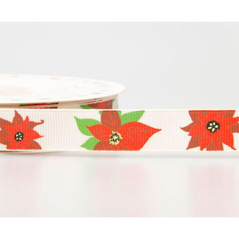 Reel chic poinsettia christmas print grosgrain ribbon for Craft ribbons and trims