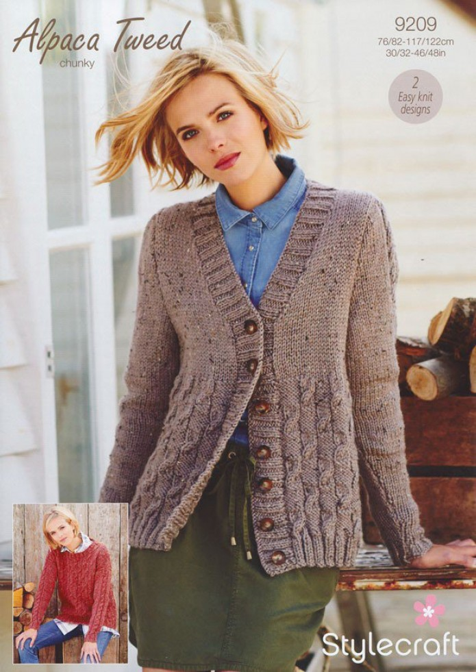 Free Knitting Patterns Alpaca Sweaters : Stylecraft Ladies Sweater & Cardigan Alpaca Tweed Knitting ...
