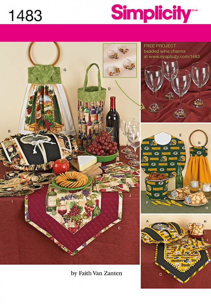 Simplicity Homeware Easy Sewing Pattern 1483 Tableware Kitchen Accessor