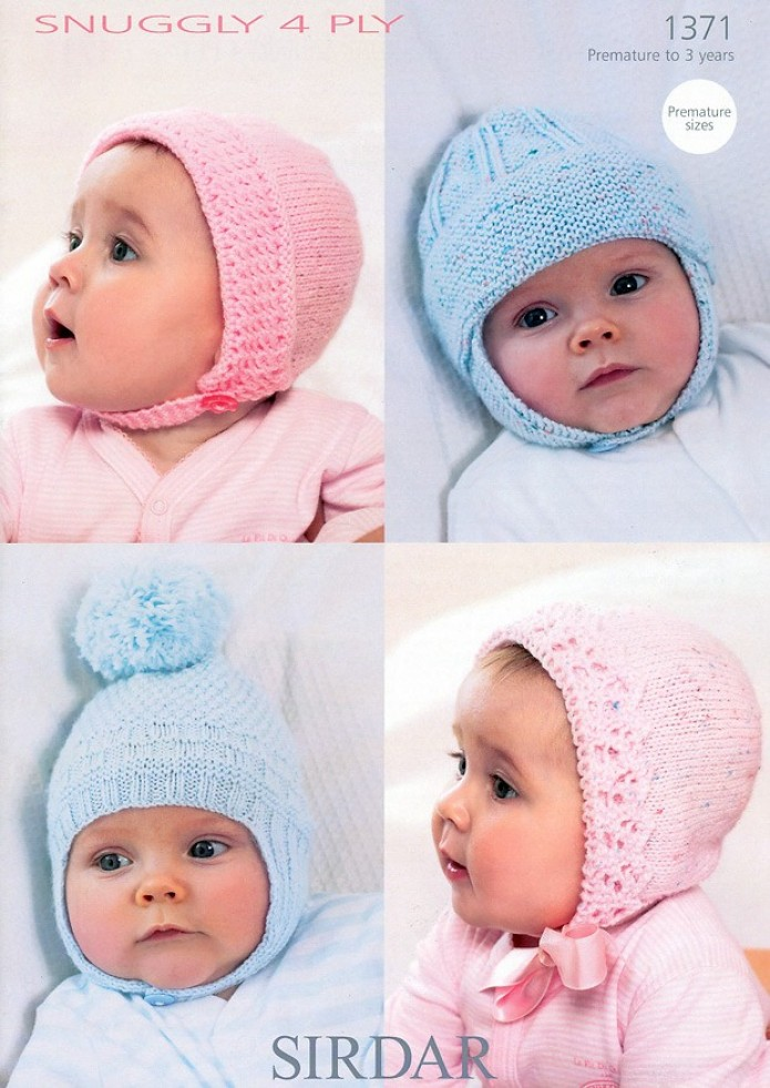 Knitting Pattern Baby Hat 4 Ply : Sirdar Baby Hats Knitting Pattern 1371 4 Ply Knitting ...