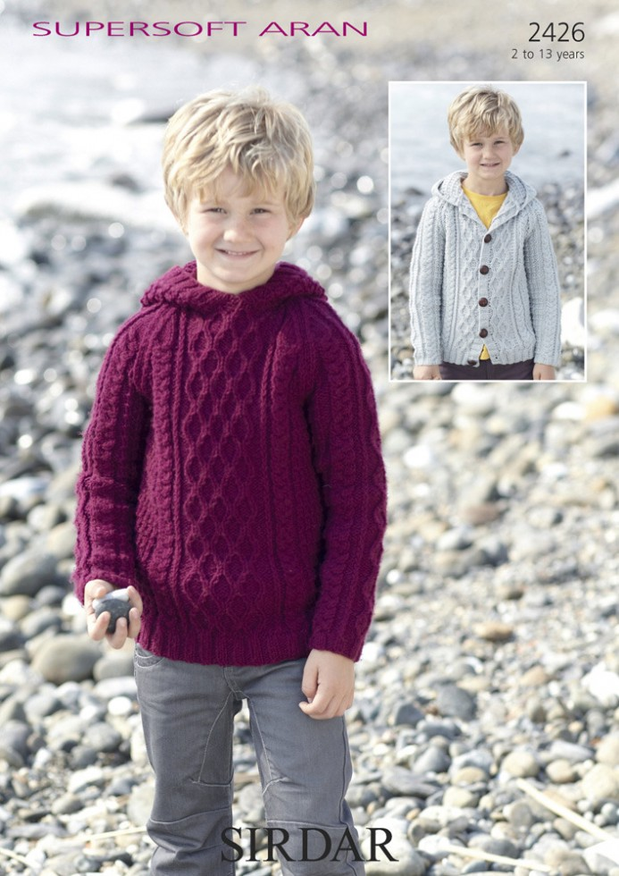 Free Aran Knitting Patterns For Boys : Sirdar Boys Sweater & Cardigan Supersoft Knitting Pattern 2426 Aran Kni...