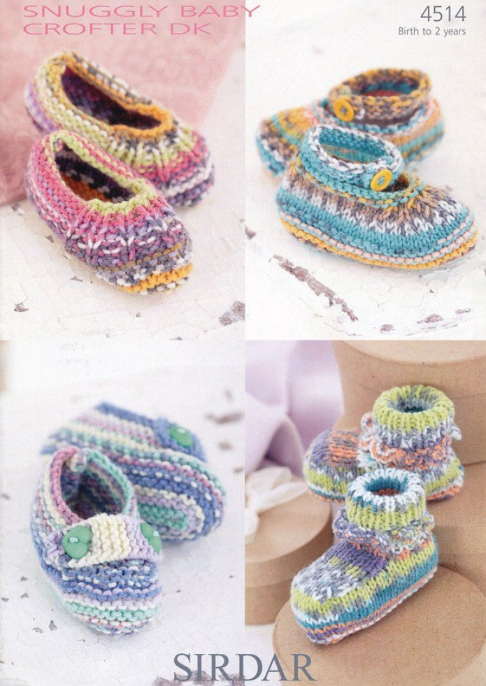 Sirdar Baby Shoes Baby Crofter Knitting Pattern 4514 DK Knitting Patterns...
