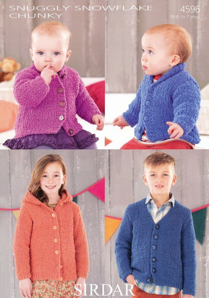 Sirdar Knitting Patterns For Children : Sirdar Baby & Childrens Cardigans Snowflake Knitting Pattern 4596 Chunky ...