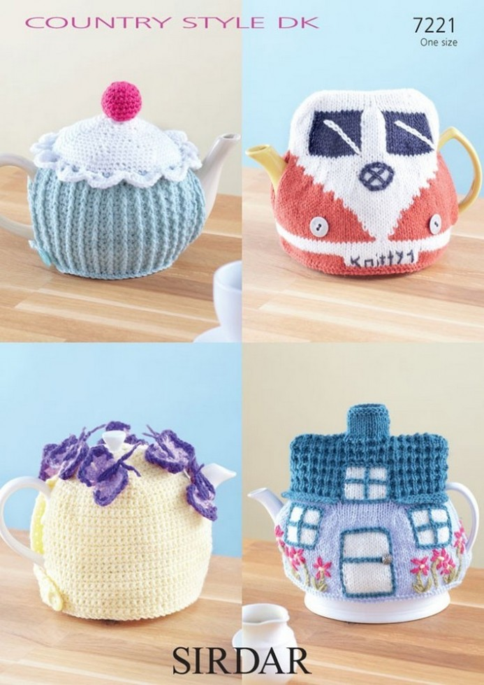 Novelty Tea Cosy Knitting Patterns : Sirdar Home Novelty Tea Cosies Country Style Knitting Pattern 7221 DK Knitt...