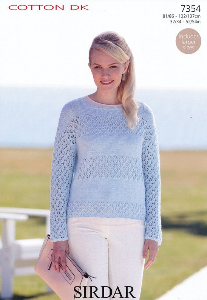Sirdar Ladies Knitting Patterns : Sirdar Ladies Sweater Cotton Knitting Pattern 7354 DK Knitting Patterns ...
