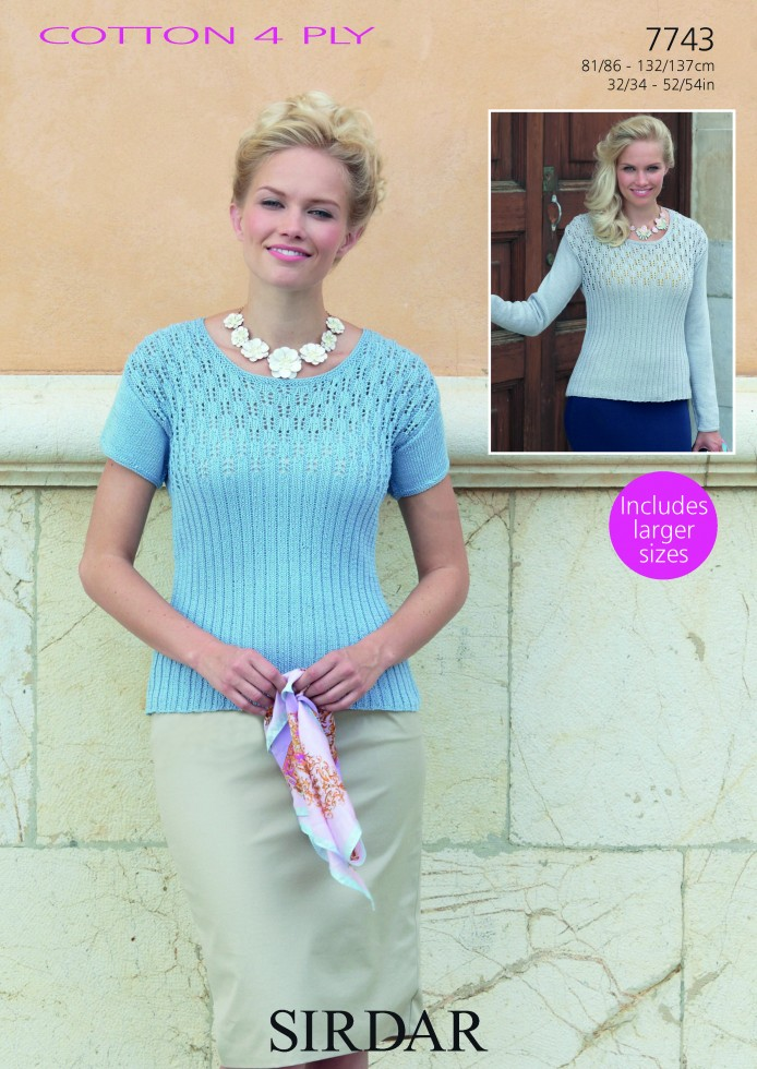 Sirdar Ladies Knitting Patterns : Sirdar Ladies Tops Cotton Knitting Pattern 7743 4 Ply Knitting Patterns ...