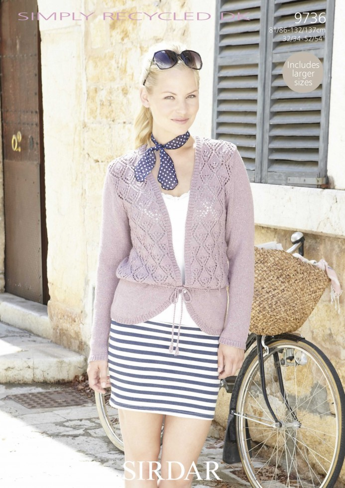 Sirdar Ladies Knitting Patterns : Sirdar Ladies Cardigan Simply Recycled Knitting Pattern 9736 DK Knitting ...