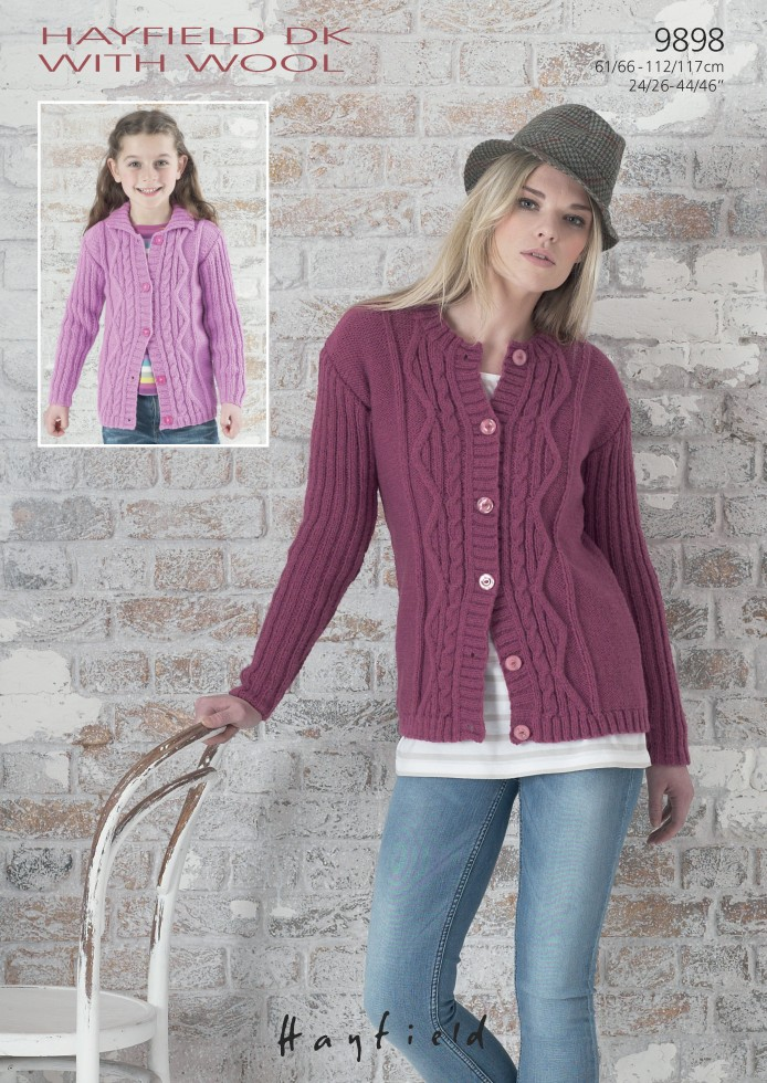 Hayfield Ladies & Girls Cardigans With Wool Knitting Pattern 9898 DK Kn...