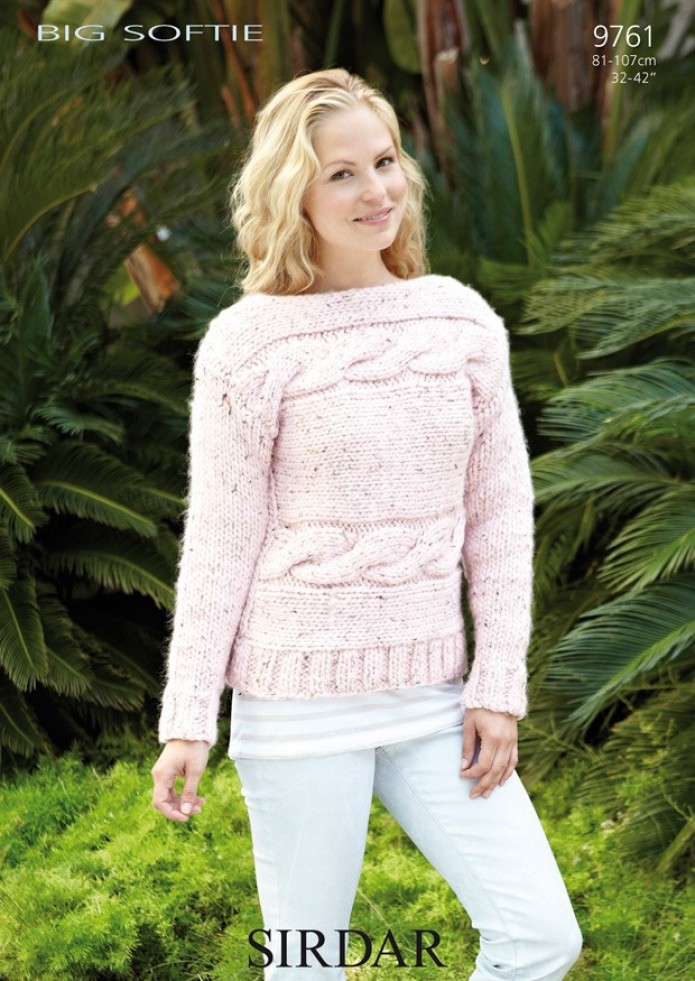 Super Chunky Jumper Knitting Pattern : Sirdar Big Softie Super Chunky Ladies Sweater Knitting Pattern 9761 Knittin...