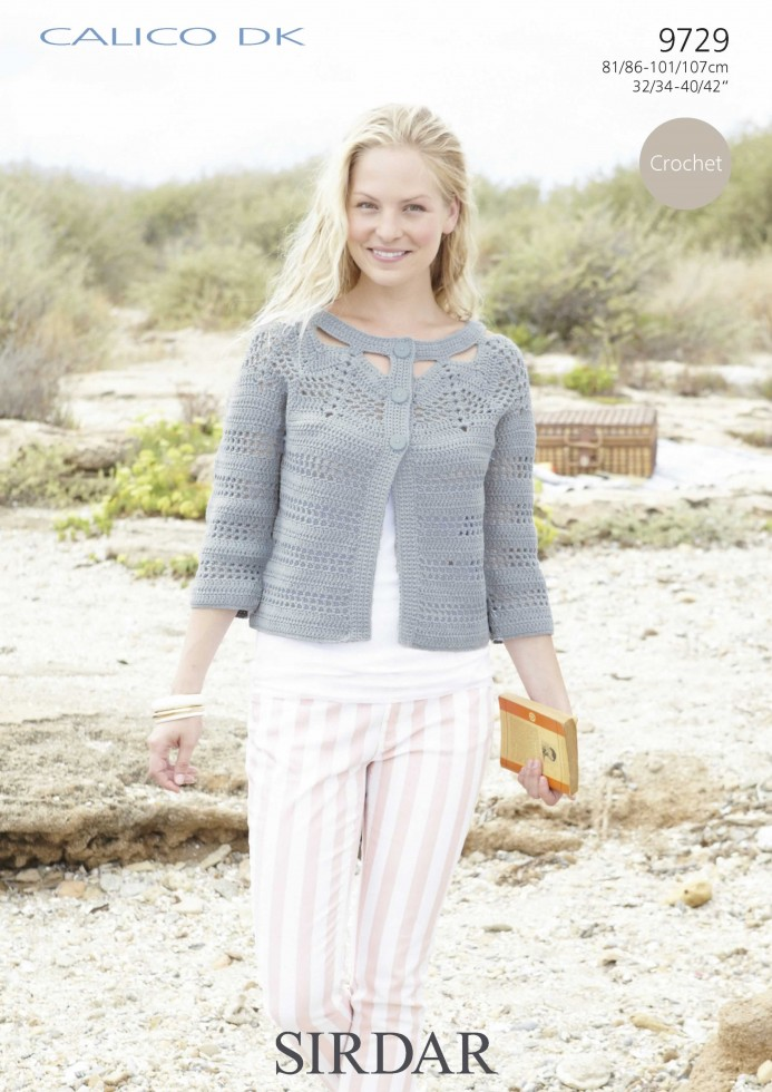 Sirdar Knitting Pattern Help : Sirdar Ladies Calico DK Cardigan Crochet Pattern 9729 ...
