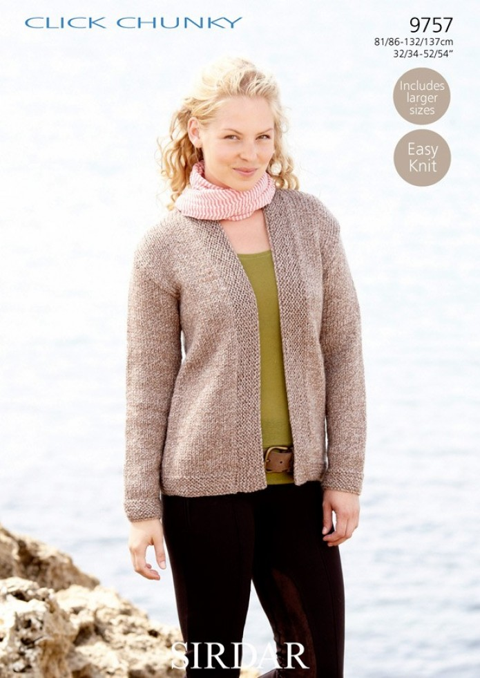 Knitting Pattern For Chunky Ladies Cardigan : Sirdar Ladies Click Chunky Cardigan Knitting Pattern 9757 Knitting Patter...