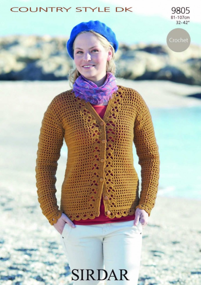 Sirdar Ladies Knitting Patterns : Sirdar Ladies Country Style DK Cardigan Crochet Pattern 9805 Knitting Cro...